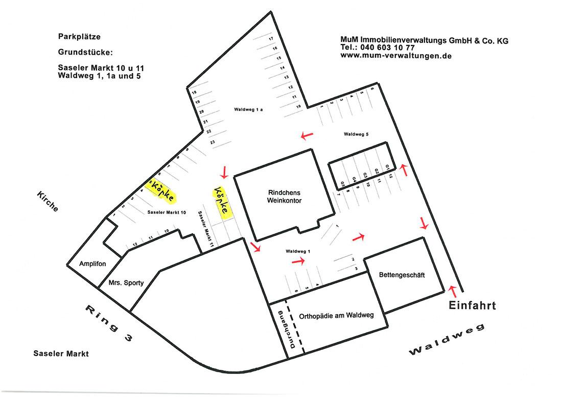 Karte mit Parkplatz Praxis Köpke Hamburg Sasel